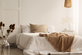 Flowers and lamp in white natural bedroom interior with blanket - PhotoDune Item for Sale