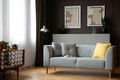 Grey lounge with yellow cushion in real photo of dark living roo - PhotoDune Item for Sale