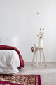 Plant on table next to bed with red blanket in white bedroom int - PhotoDune Item for Sale