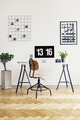 Wooden chair at desk with desktop computer in white home office - PhotoDune Item for Sale