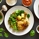 Grilled chicken leg with potato and green salad - PhotoDune Item for Sale