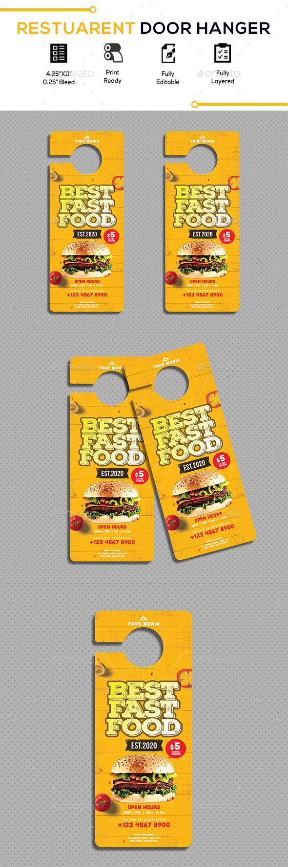 Restaurant Door Hanger - Miscellaneous Print Templates