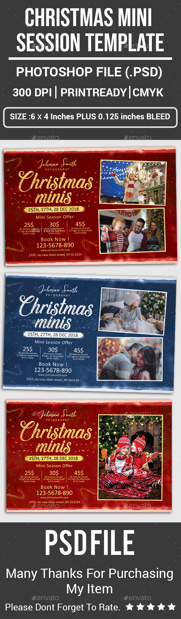 Christmas Mini Session Template - Cards & Invites Print Templates