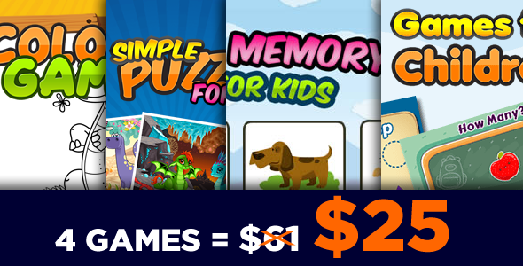 Game for Kids Bundle 4 Games - HTML5 Game (CAPX)            Nulled