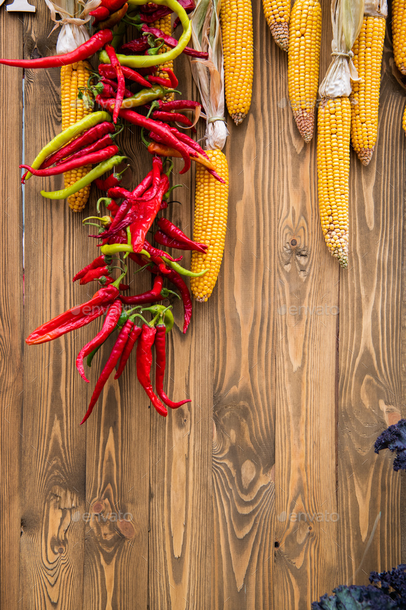 Harvest, culinary, autumn background. Top view. Copy space - Stock Photo - Images