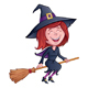Laughing Witch Riding Her Broomstick - GraphicRiver Item for Sale