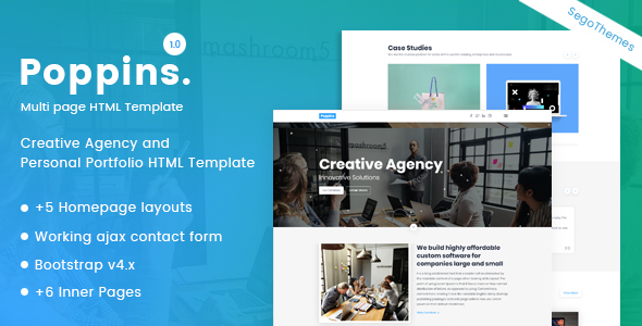 Poppins – Creative Agency & Portfolio Template Free Download | Nulled