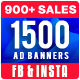 1500 Facebook & Instagram Ad Banners - Black Friday, Cyber Monday Update - GraphicRiver Item for Sale