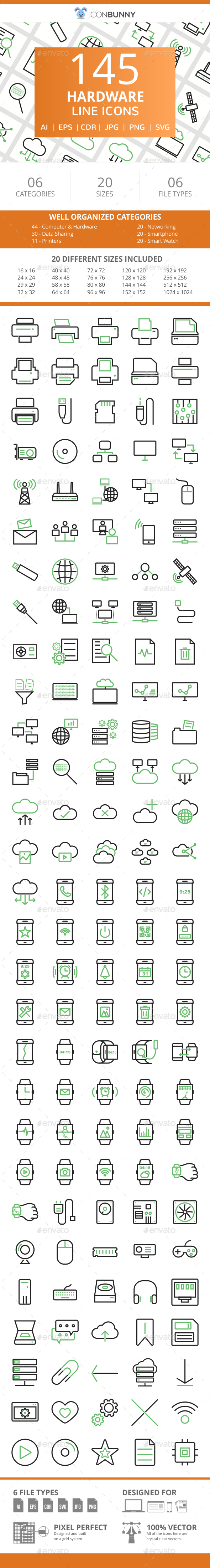 145 Hardware Line Green & Black Icons - Icons
