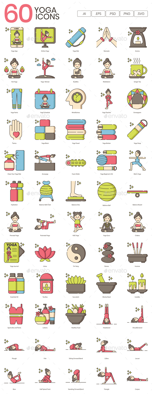 60 Cute Yoga Icons - People Characters
