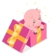 Isometric 3d Cute Cartoon Baby Pig Cub Gift Box - GraphicRiver Item for Sale