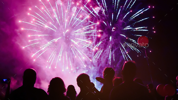 Crowd watching foreworks - Stock Photo - Images