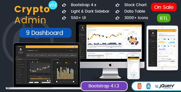 Crypto Admin - Responsive Bootstrap Admin HTML Templates + Bitcoin Dashboards + ICO - Admin Templates Site Templates