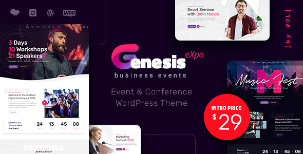 GenesisExpo | Business Events & Conference WordPress Theme Free Download | Nulled