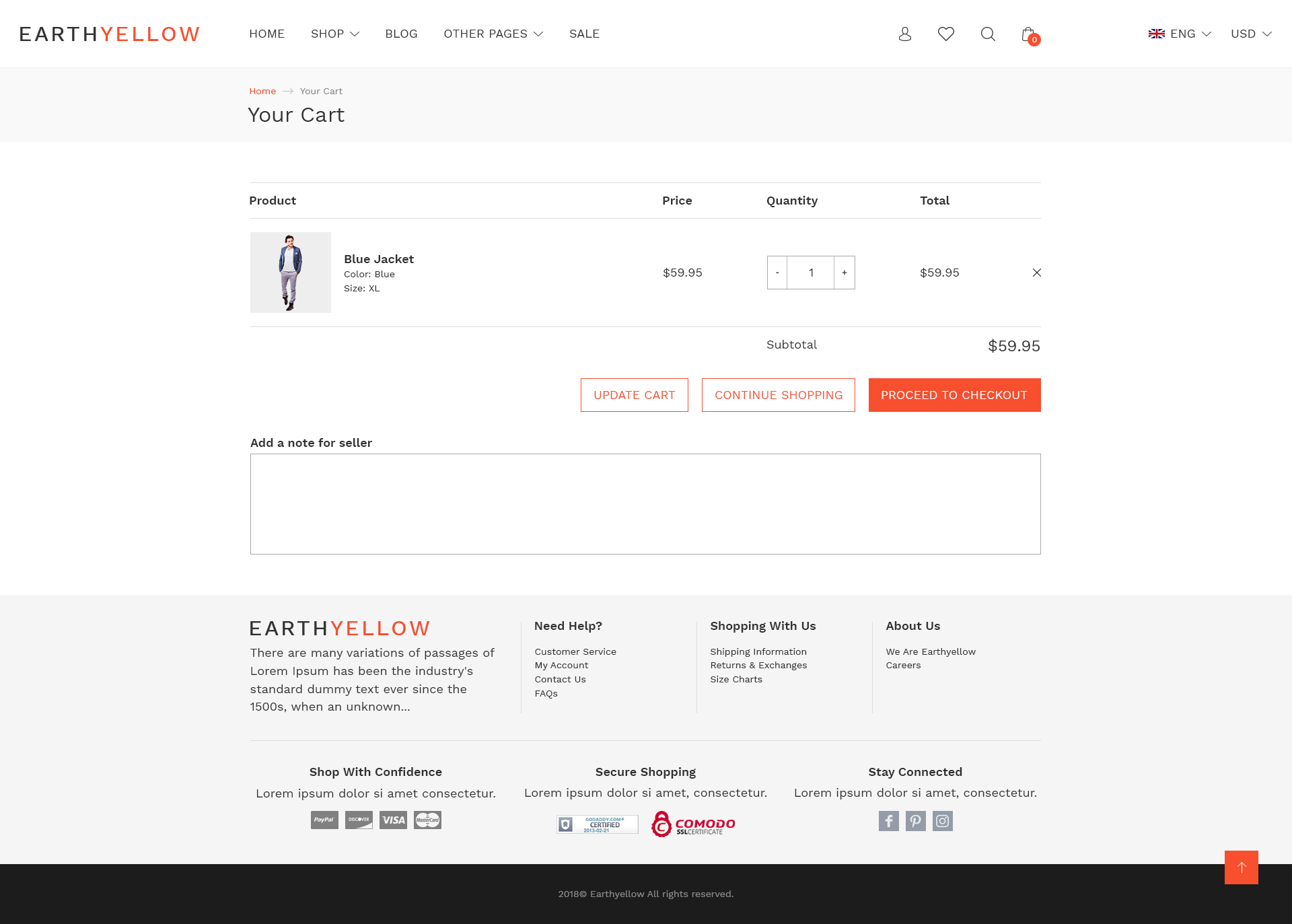 Earthyellow Responsive Ecommerce Html5 Template By Aliansoftware