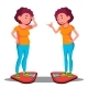 Sad Young Fat Girl On The Scales, Happy Slim Girl - GraphicRiver Item for Sale
