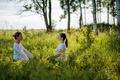 Portrait of two young woman enjoying pranayama  - PhotoDune Item for Sale