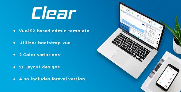 Clear - VueJS + Laravel Admin Template - Admin Templates Site Templates