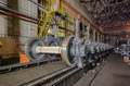 Many spare railway metro wheels on the rail inside repair plant - PhotoDune Item for Sale