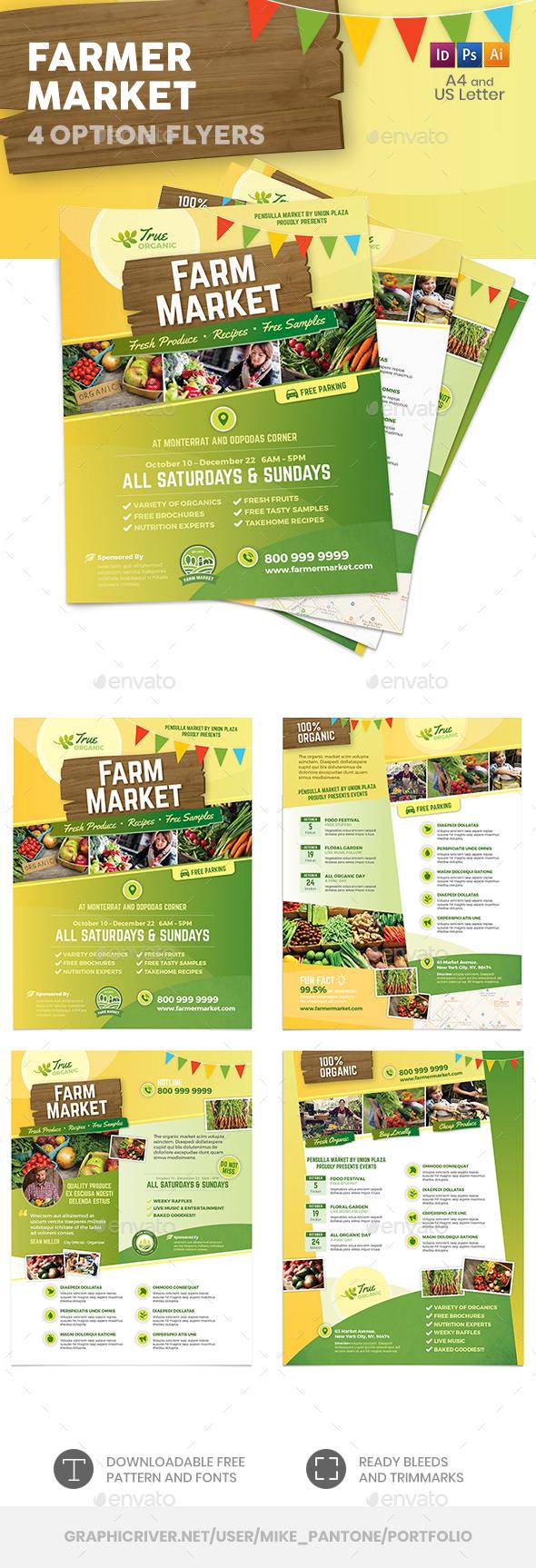 Farmer Market Flyers – 4 Options - Commerce Flyers