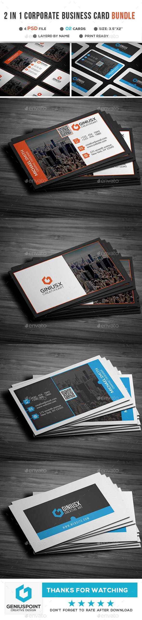 2 in 1 Corporate Business Card Bundle - Corporate Business Cards