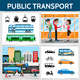 Flat Public Transport Square Concept - GraphicRiver Item for Sale