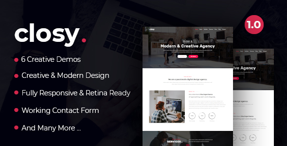 Closy - One Page Parallax Free Download | Nulled