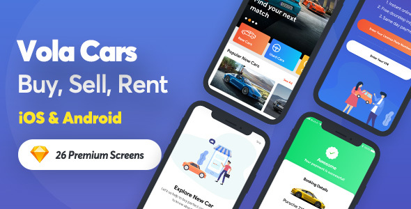 Vola Cars - New Car, Used Car, Sell Car and Rental Car Mobile UI Kit for sketch App