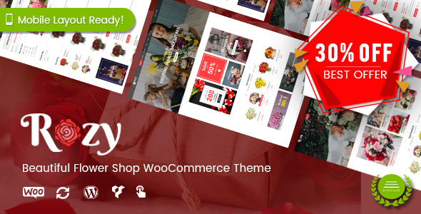 Rozy - Flower Shop WooCommerce Theme (Mobile Layout Ready) Free Download | Nulled