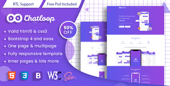 Chatloop - HTML App Landing Page Free Download | Nulled