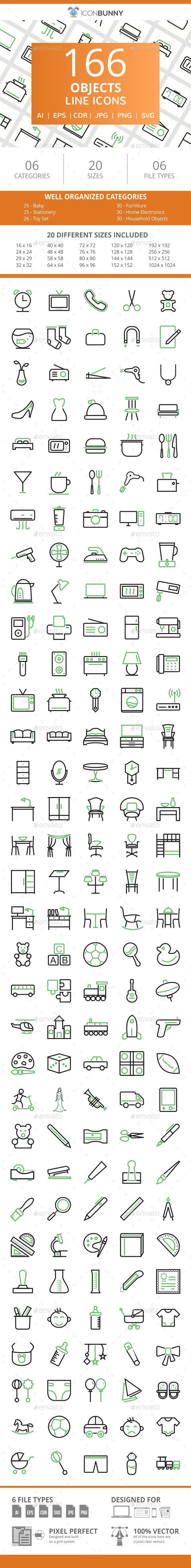 166 Objects Line Green & Black Icons - Icons