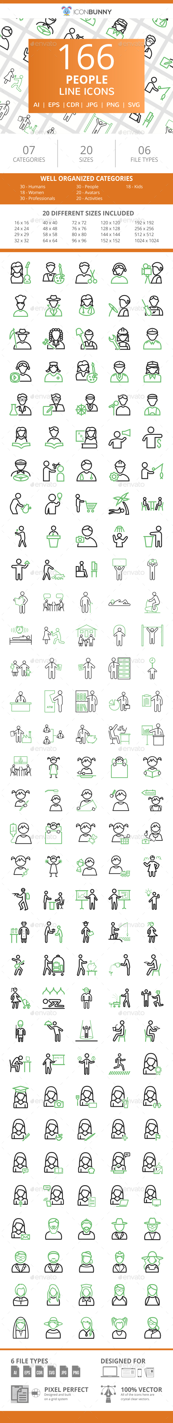 166 People Line Green & Black Icons - Icons