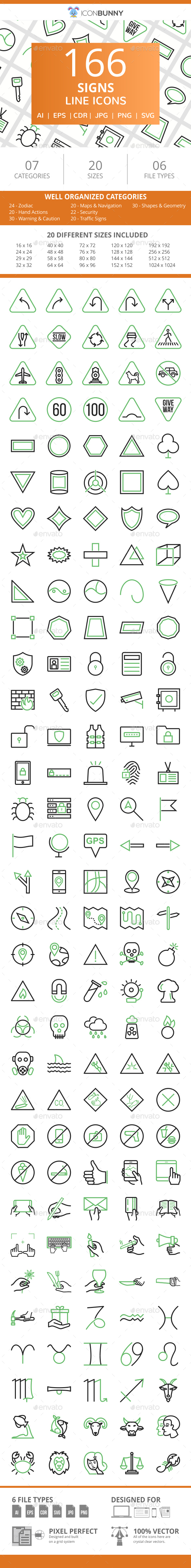 166 Sign Line Green & Black Icons - Icons