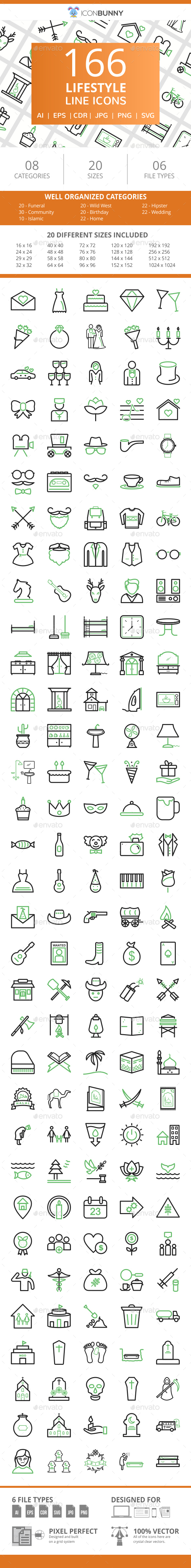 166 Lifestyle Line Green & Black Icons - Icons