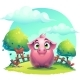Vector Cartoon Pig on a Lawn Background - GraphicRiver Item for Sale
