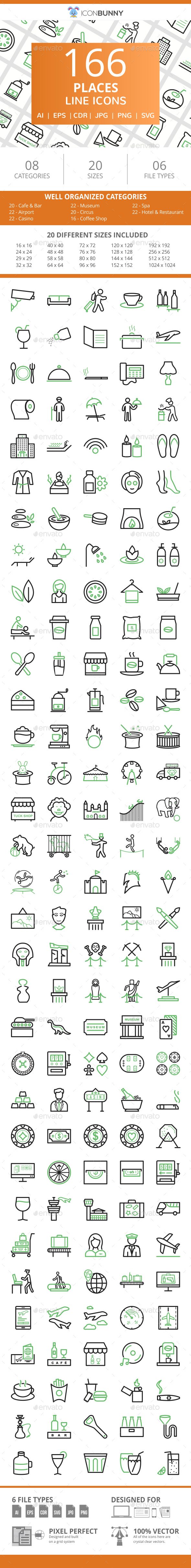 166 Places Line Green & Black Icons - Icons
