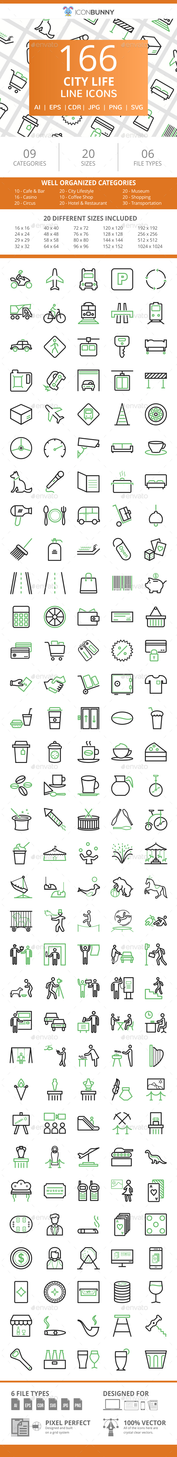 166 City Life Line Green & Black Icons - Icons