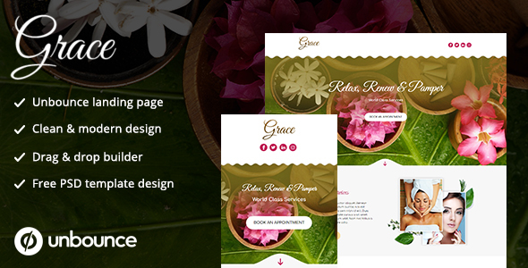 Unbounce Landing Page Template - Grace by thedreamerdesignsindia