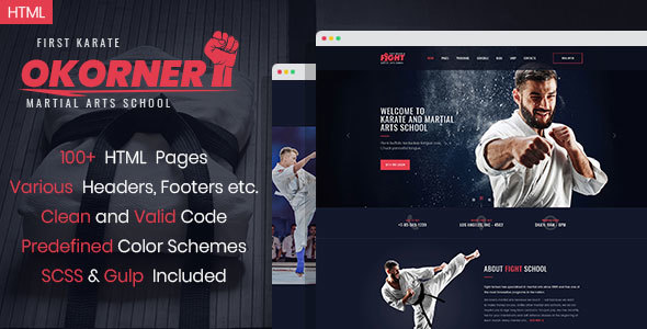 Okorner - Martial Arts Website Template Free Download | Nulled