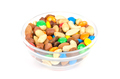 Trail mix in glass bowl over white - PhotoDune Item for Sale