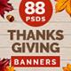 Thanksgiving Banner Set Bundle - 5 Sets - 88 Banners - GraphicRiver Item for Sale