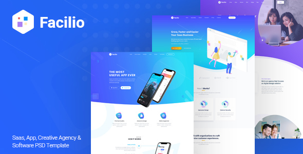 Facilio - Saas, App, Creative Agency and Software PSD Template - Software Technology