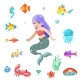 Cute Little Mermaid Swimming Under the Sea Fishes - GraphicRiver Item for Sale