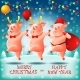 Three Cheerful Little Piggies Chinese New Year - GraphicRiver Item for Sale