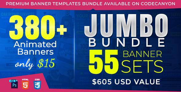 Jumbo Bundle v3 - 380+ Animated HTML5 Ad Banners in Google Web Designer - CodeCanyon Item for Sale