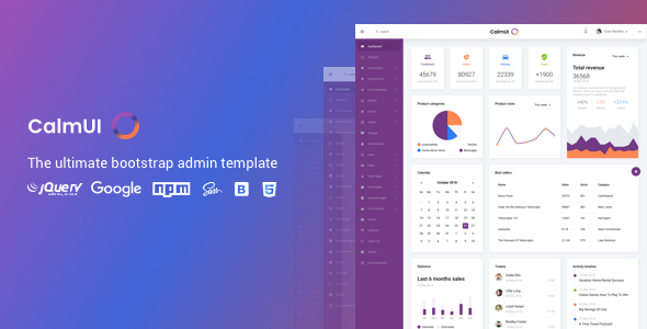 CalmUI Bootstrap Admin Dashboard Template Free Download   Nulled