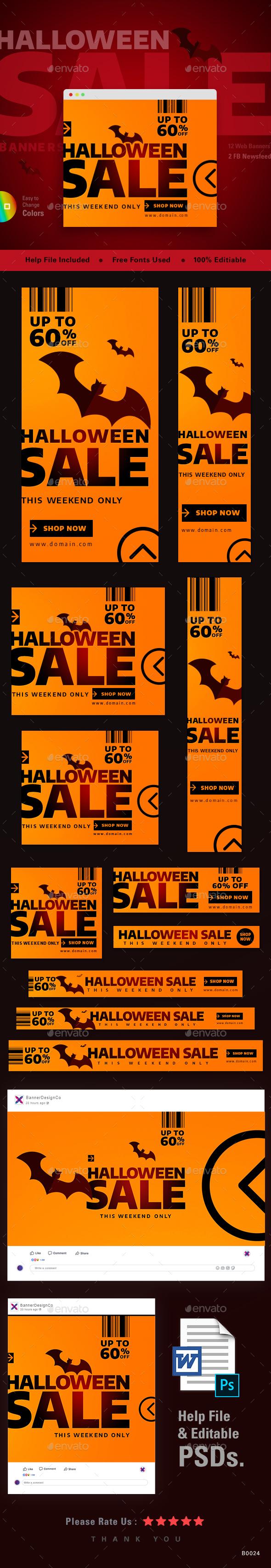Halloween Web Banner Set - Banners & Ads Web Elements