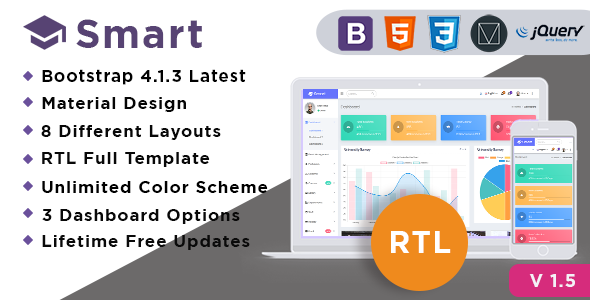 Smart - Bootstrap 4 Admin Dashboard Template for University, School & Colleges - Admin Templates Site Templates