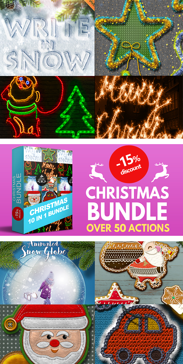 10 in 1 Christmas Photoshop Actions Bundle - Text Effects Actions