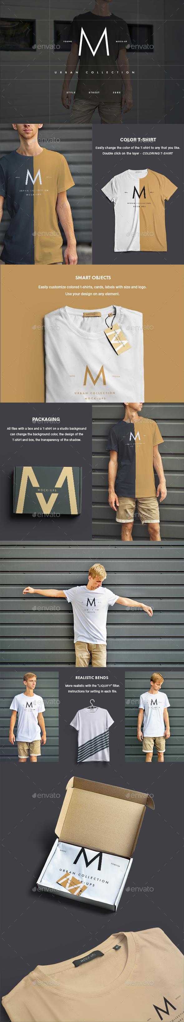 12 Mock-Ups Men's T-Shirt (6 Urban and 6 Studio Isolated) - T-shirts Apparel